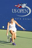 Professional tennis player Kaia Kanepi from Estonia during second round match at US Open 2014