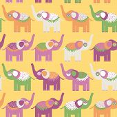 Cheerful Seamless Pattern With Elephants. Purple Orange, Green. Vector