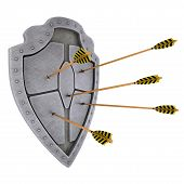 Medieval brushed shield which arrows