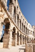 Wall Of The Ancient Amphitheater In Pula. Croatia
