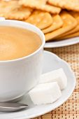Breakfast: A Cup Of  Coffee With A Lump Sugar And Crackers