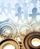 Gears and team. Teamwork concept