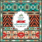 Seamless bright pattern with geometric elements in navajo style