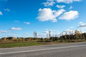 stock photo of cloud formation  - cloud formation over country landscape - JPG