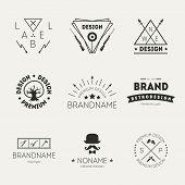 Retro Vintage Insignias or Logotypes set. Vector design