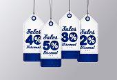 Sale Tags Design. Blue vintage style. Vector illustration