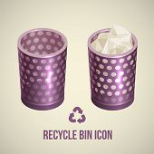 realistic recycle bin icon, Vector illustration.
