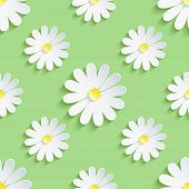 stock photo of chamomile  - Beautiful spring background seamless pattern green with white 3d flower chamomile - JPG