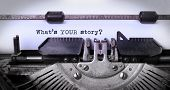 picture of typewriter  - Vintage inscription made by old typewriter what - JPG
