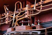 stock photo of transformer  - details of broken high voltage power transformer at repair shop - JPG