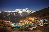 stock photo of sherpa  - Namche Bazaar aerial view Everest trek Himalaya Nepal - JPG