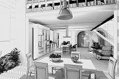 3D rendering / Wireframe of a modern loft