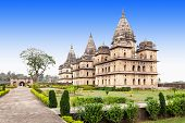 picture of raja  - Chhatris or Cenotaphs are dome shaped structure built in 17th century for a long memory about raja of Orchha city - JPG