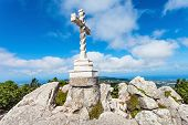 picture of cross hill  - Cross on the top a hill near Pena National Palace Sintra Portugal - JPG