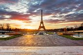 Paris, Eiffel Tower At Sunrise.