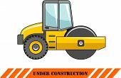 Compactor. Heavy construction machine. Vector illustration
