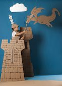 picture of berserk  - photo of the boy in medieval knight costume made of cardboards - JPG