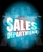 Sales Department Words On Digital Screen With World Map