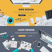 stock photo of internet icon  - Set of flat design illustration concepts for web design development - JPG