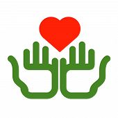 heart and hands logo design template. Ecology or health icon.