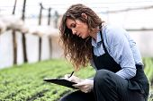 pic of genetic engineering  - Beautiful young biotechnology woman engineer with clipboard and pen - JPG