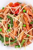 Pasta penne rigate with tomato sauce