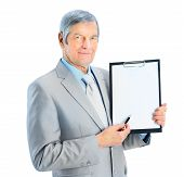 businessman at the age shows the plan of work.