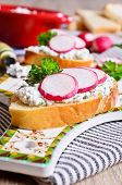 Sandwich With Cream Cheese And Radish