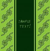 St. Patrick's Day Green Background Ornate Leaf Clover. Vintage Template Set Design, Greeting Card