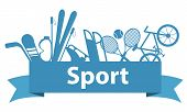 Sports and game equipment on a blue ribbon. Vector illustration