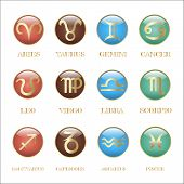 foto of pisces  - Set zodiac sign in oval frame vector Illustration - JPG
