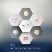 Infographic for business, geometric background, abstract blurred hexagonal pattern vector