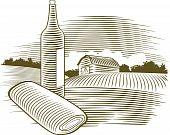 Woodcut Wine Bottle