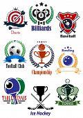 Colored sports tournaments emblems set