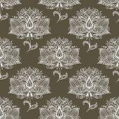 White paisley seamless pattern