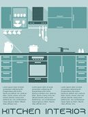 picture of kitchen appliance  - Kitchen flat interior design template in shades of blue with a fitted kitchen with cabinets and electrical appliances with editable text copyspace - JPG