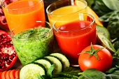 foto of fruit-juice  - Glasses of fresh organic vegetable and fruit juices - JPG