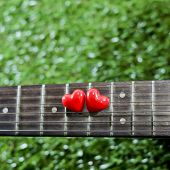 Heart On Neck Guitars And Strings On The Grass