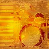 stock photo of drum-kit  - abstract yellow grunge piano background with drum kit - JPG