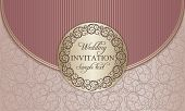 Wedding invitation envelope, gold and pink