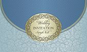Wedding invitation envelope, gold and blue