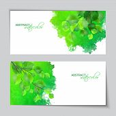 Watercolor banners with green leaves