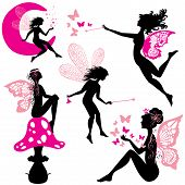 foto of fairies  - Set of silhouette fairy girls with butterflies and stars isolated on white background - JPG