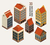 Pretty houses, architecture isometric 3d vector buildings