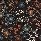 pic of pedal  - Vector seamless colorful retro vintage bicycle hipster background - JPG