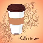 Hand-drawn Vector Illustration - Coffee To Go. Background With Waves And Flowers