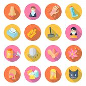 picture of rhinitis  - Allergy icon flat set with cough rhinitis dermatitis sneeze isolated vector illustration - JPG