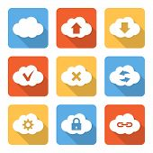 Flat Cloud Icons With Long Shadows. Vector Illustration