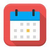 Calendar App Icon With Long Shadow