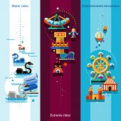 picture of amusement park rides  - Amusement park vertical banners set with water extreme rides and entertainment attractions elements isolated vector illustration - JPG